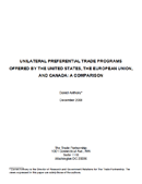 Unilateral Preferential Trade Programs Offered by the United States, the European Union, and Canada: A Comparison (2008)