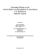 Estimated Effects on the United States and Bangladesh of Liberalizing U.S. Barriers to Apparel Imports (2001)