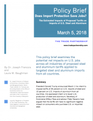 Does Import Protection Save Jobs? The Estimated Impacts of Proposed Tariffs on Imports of U.S. Steel and Aluminum (2018)