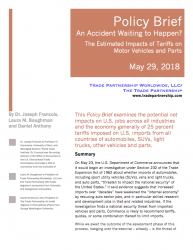 An Accident Waiting to Happen? The Estimated Impacts of Tariffs on Motor Vehicles and Parts (2018)